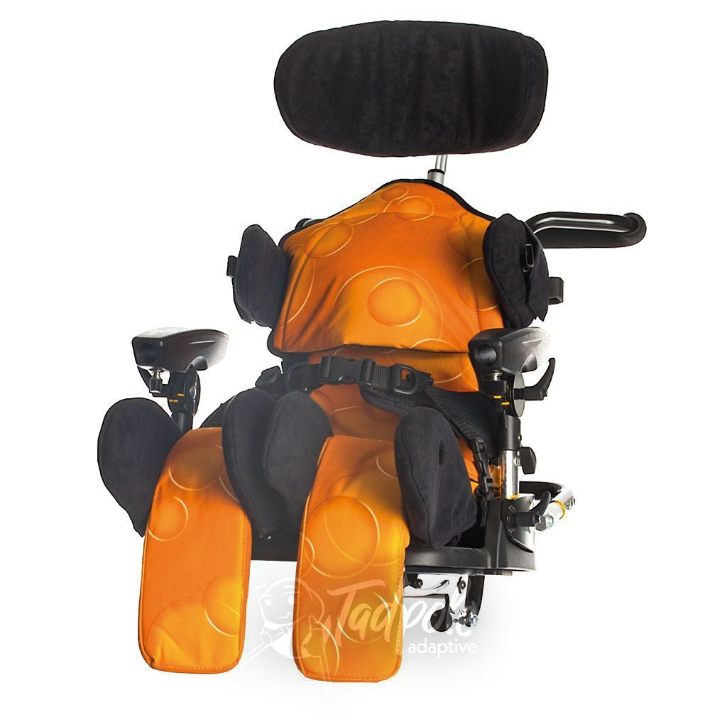 Leckey Mygo Seating System with positioning accessories, in orange.