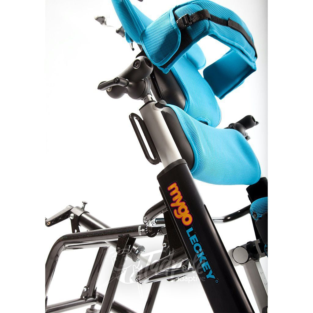Leckey Mygo Stander, shown closeup with adjustments and optional supports.