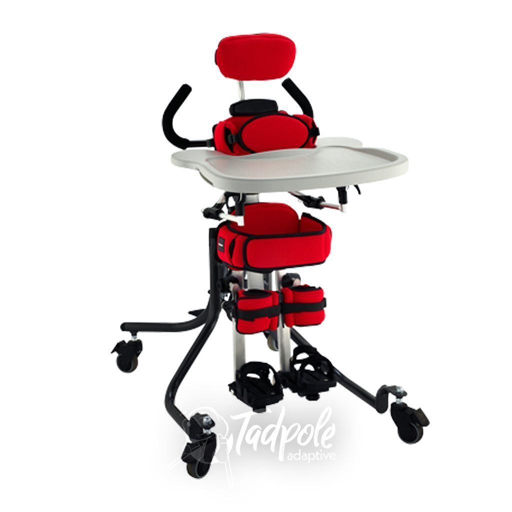 Leckey Squiggles+(plus) Stander with accessories, Tray and Push Handles in red.