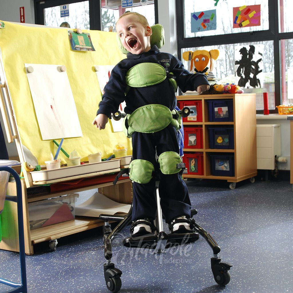 Leckey Squiggles Stander Kiddo upright and smiling