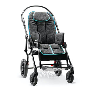 Ormesa New Bug in dark gray on 4-wheel stroller base.