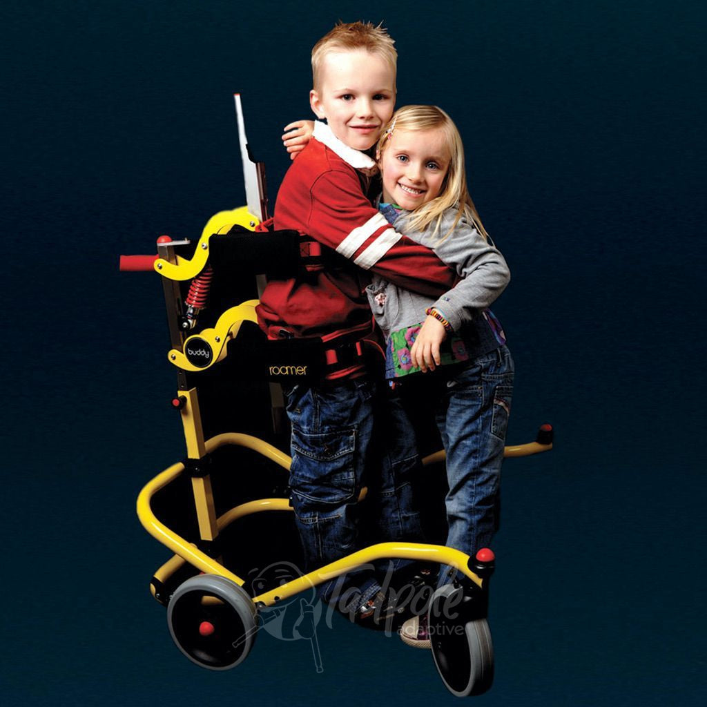 Young boy hugging sister in his Buddy Roamer Anterior Gait Trainer.