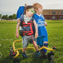Boy chilling with buddy on soccer field in his Buddy Roamer Anterior Gait Trainer.