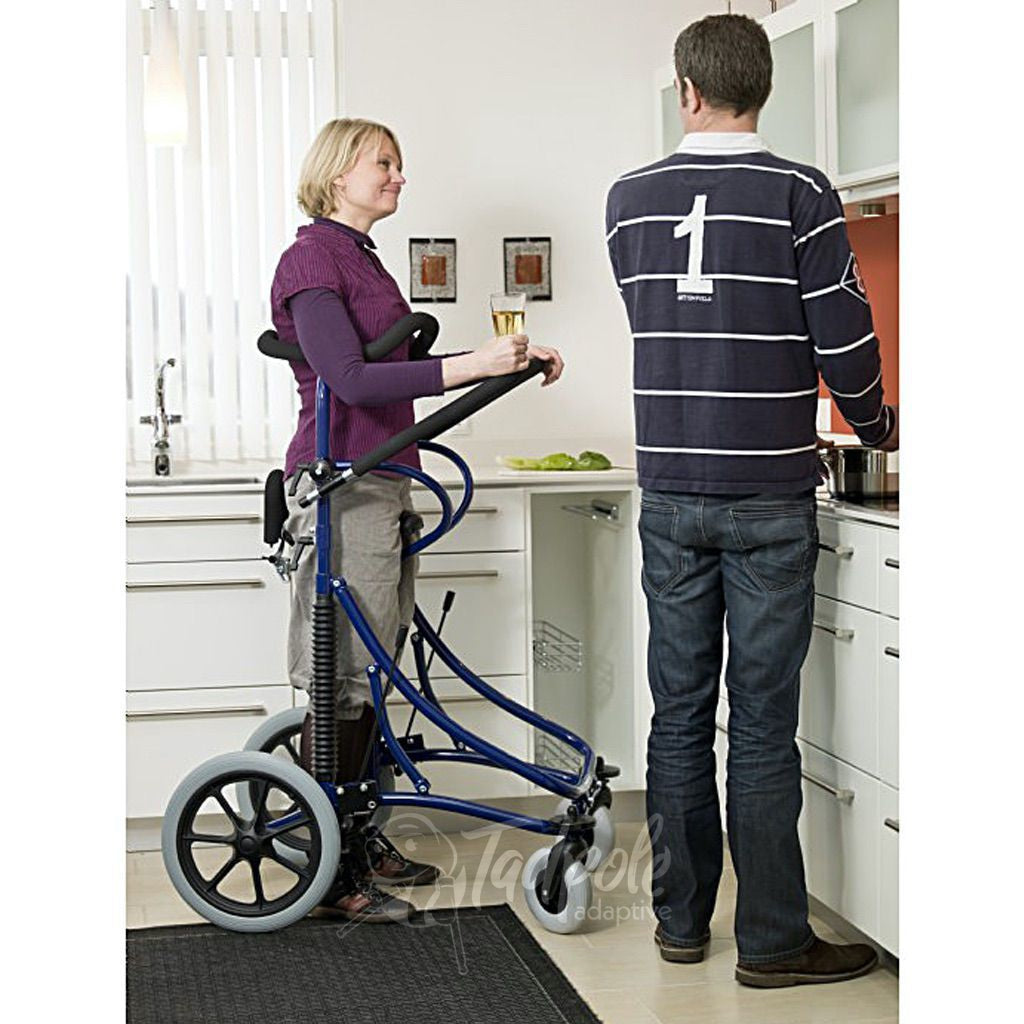 Meywalk 2000 Gait Trainer By Pacific Rehab. Woman drinking beer in kitchen