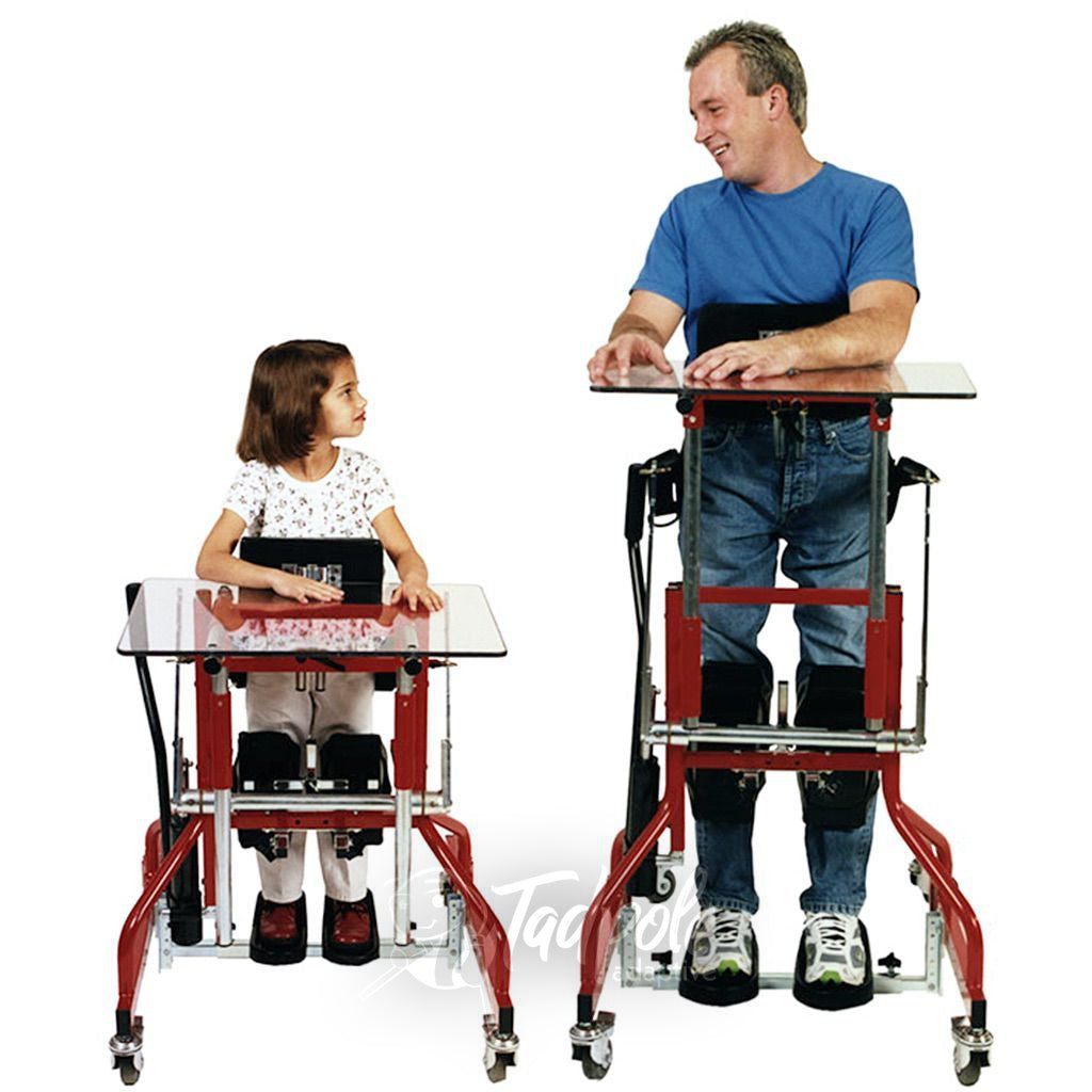 Size comparison of the Prime Engineering Kidstand III, child and adult.
