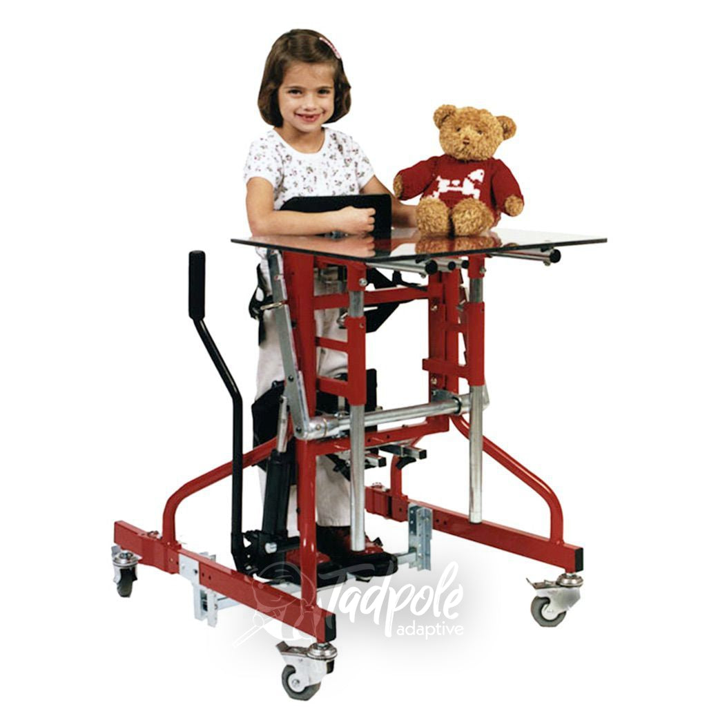 Little girl in her Prime Engineering Kidstand III with a teddy bear.