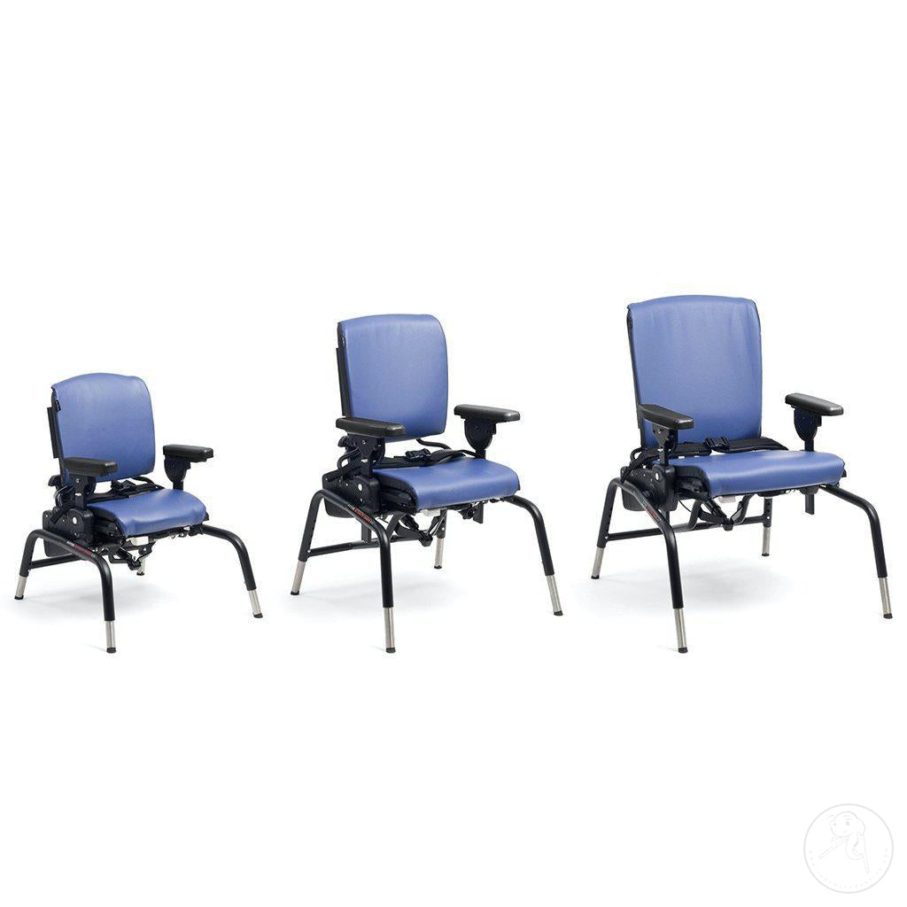 3 Sizes shown for Rifton Activity Chair, Small Size with Standard Base.