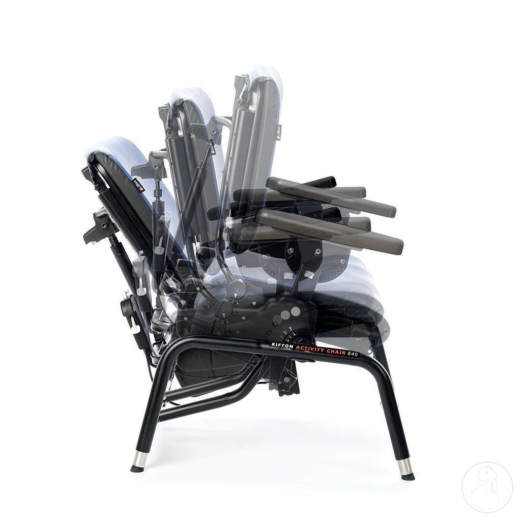 Tilt-in-Space features of the Large Rifton Activity Chair.