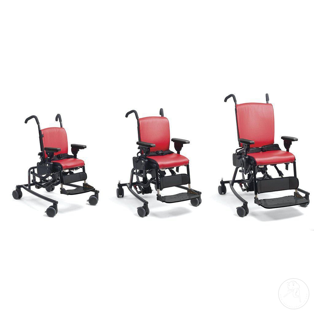 3 Sizes of the Rifton Activity Chair with Tilt-in-Space Base.