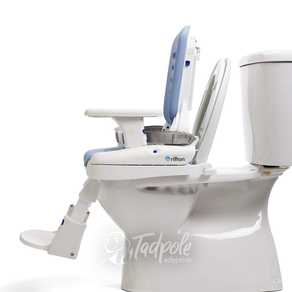 Rifton HTS with pads, mounted to toilet.