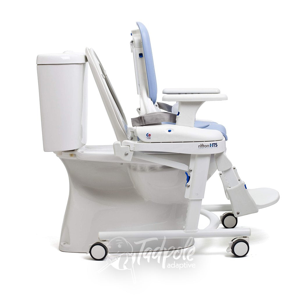 Rifton HTS on Mobile base over toilet.