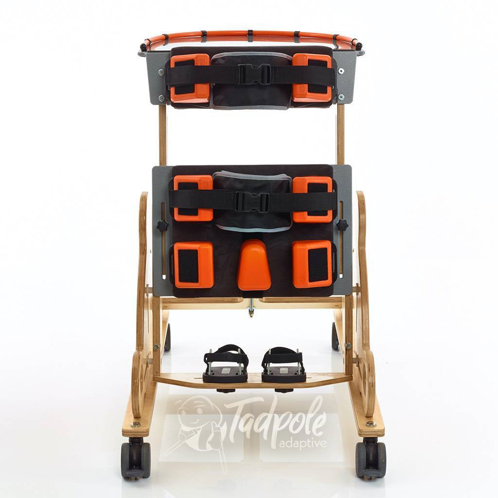 Jenx Monkey Prone Stander shown with supports and set to highest position.