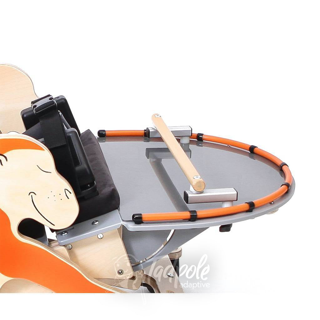 Jenx Monkey Prone Stander shown with Activity Tray and Activity Bar.