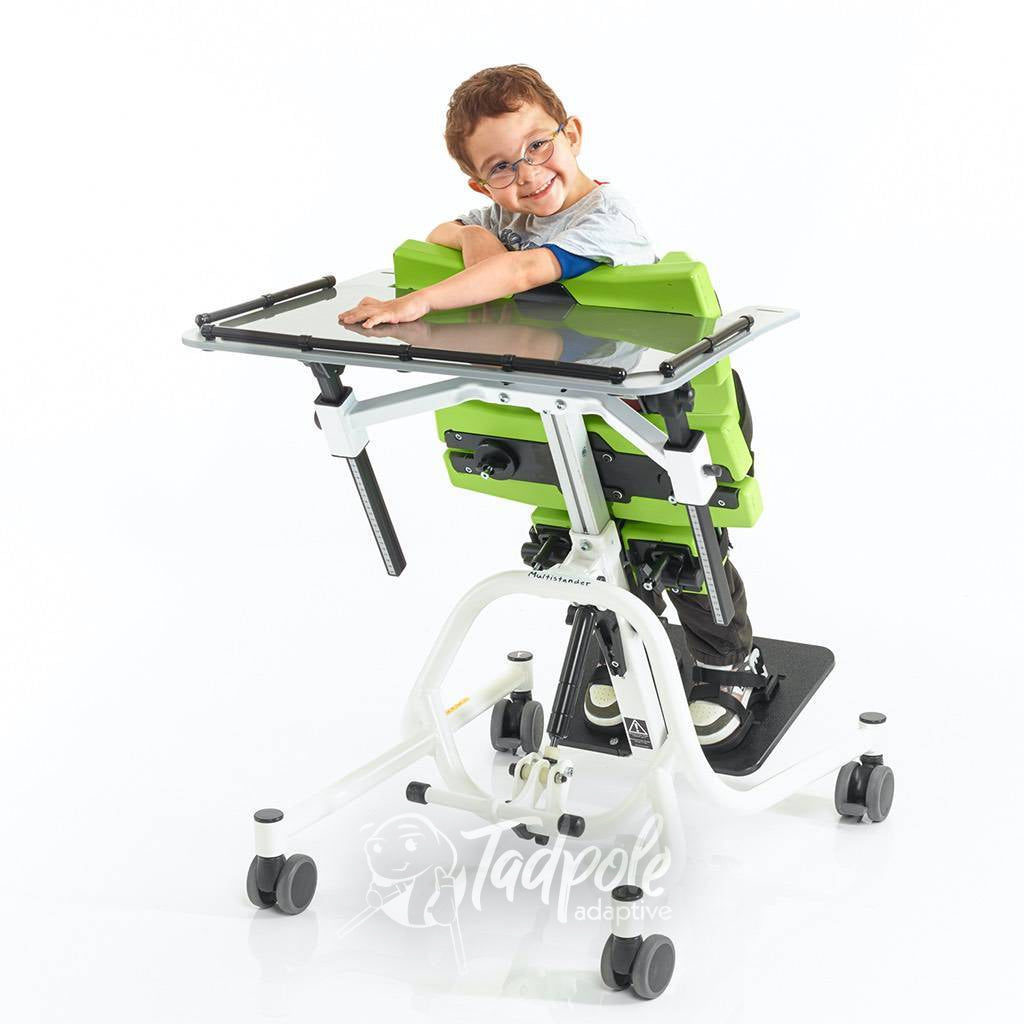 Jenx Multistander Kiddo in Prone position using optional tray for support.