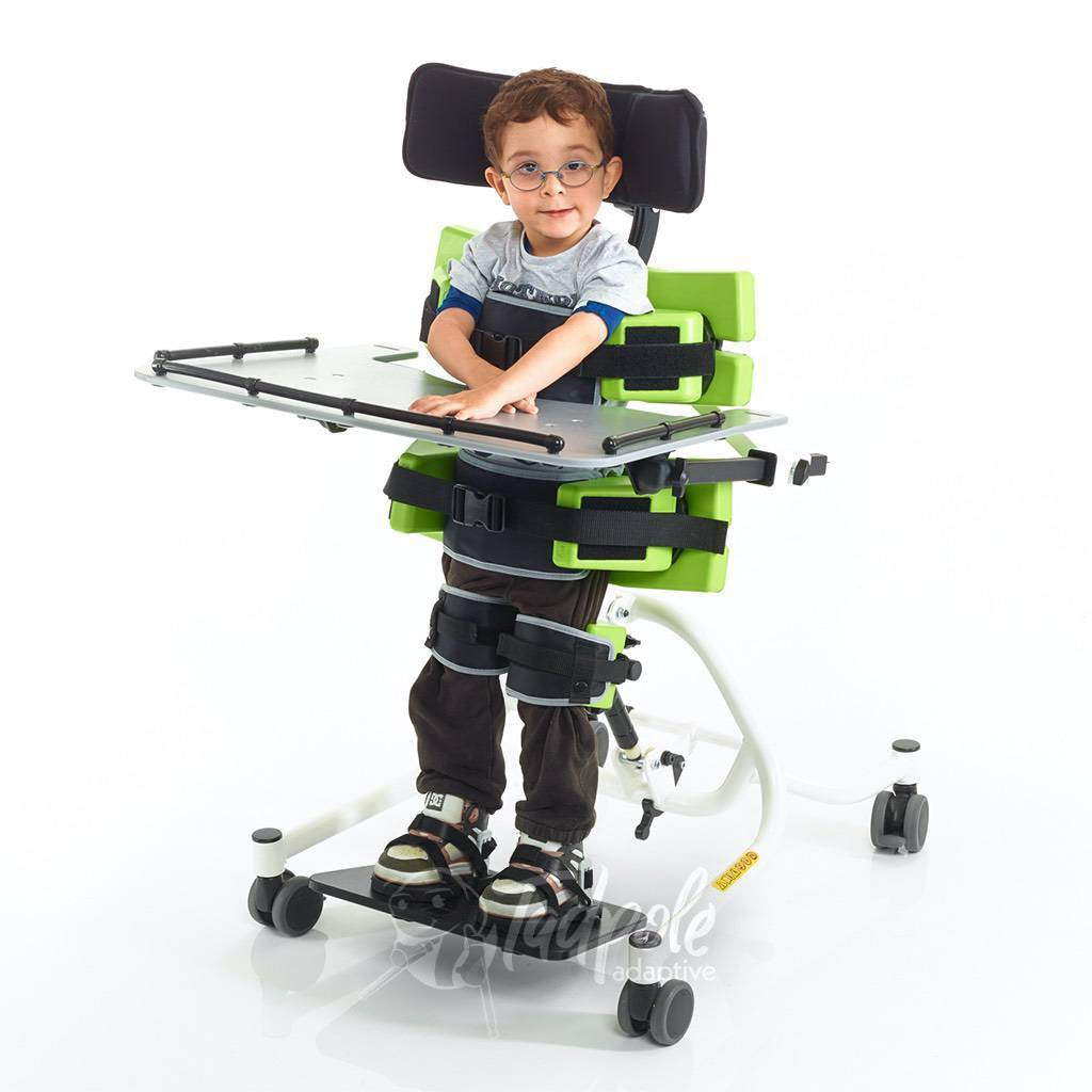 Jenx Multistander Kiddo in Supine/Upright position with optional Multi-Grip Headrest accessory.
