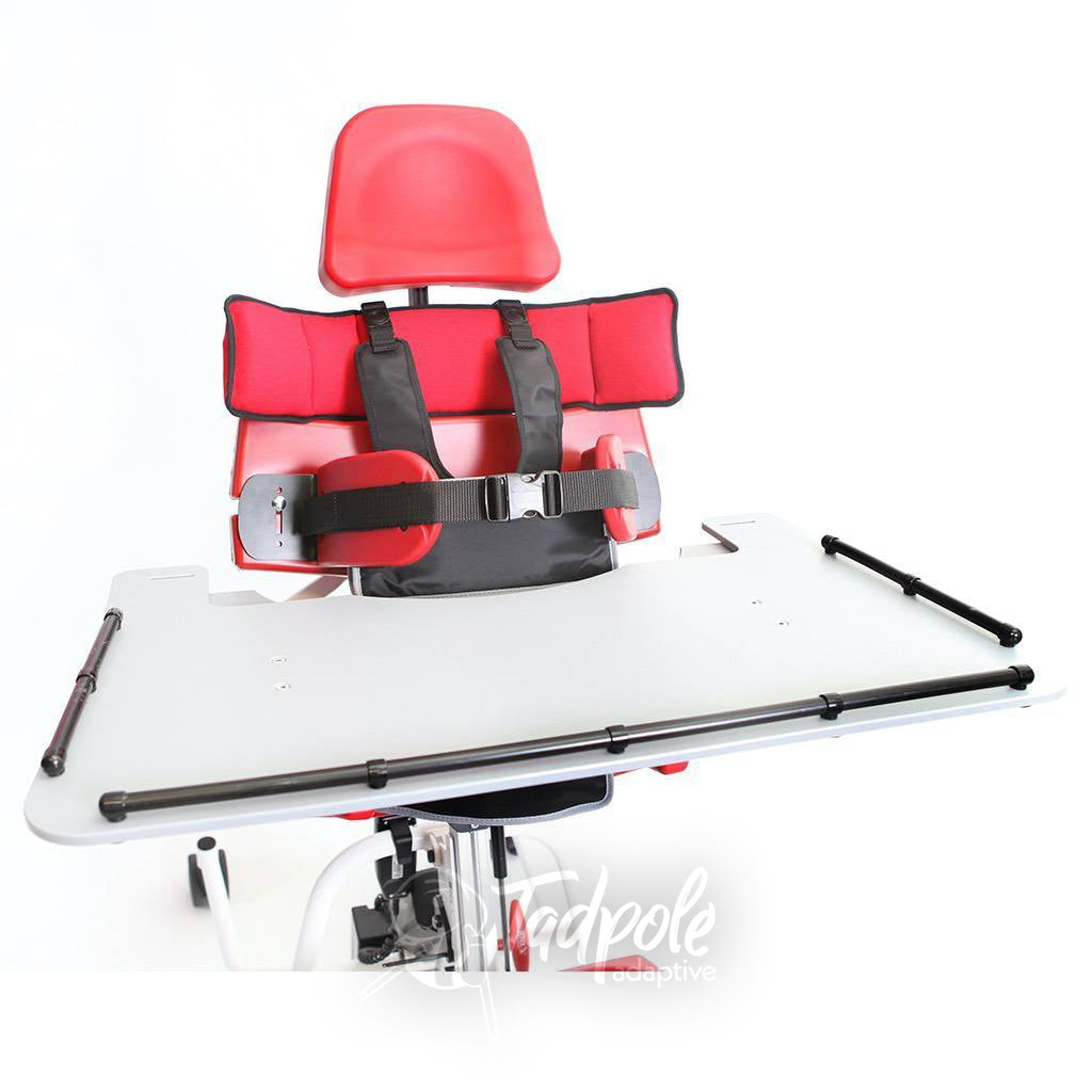 Jenx MultiStander Closeup view in red, tray, headrest and chest harness.