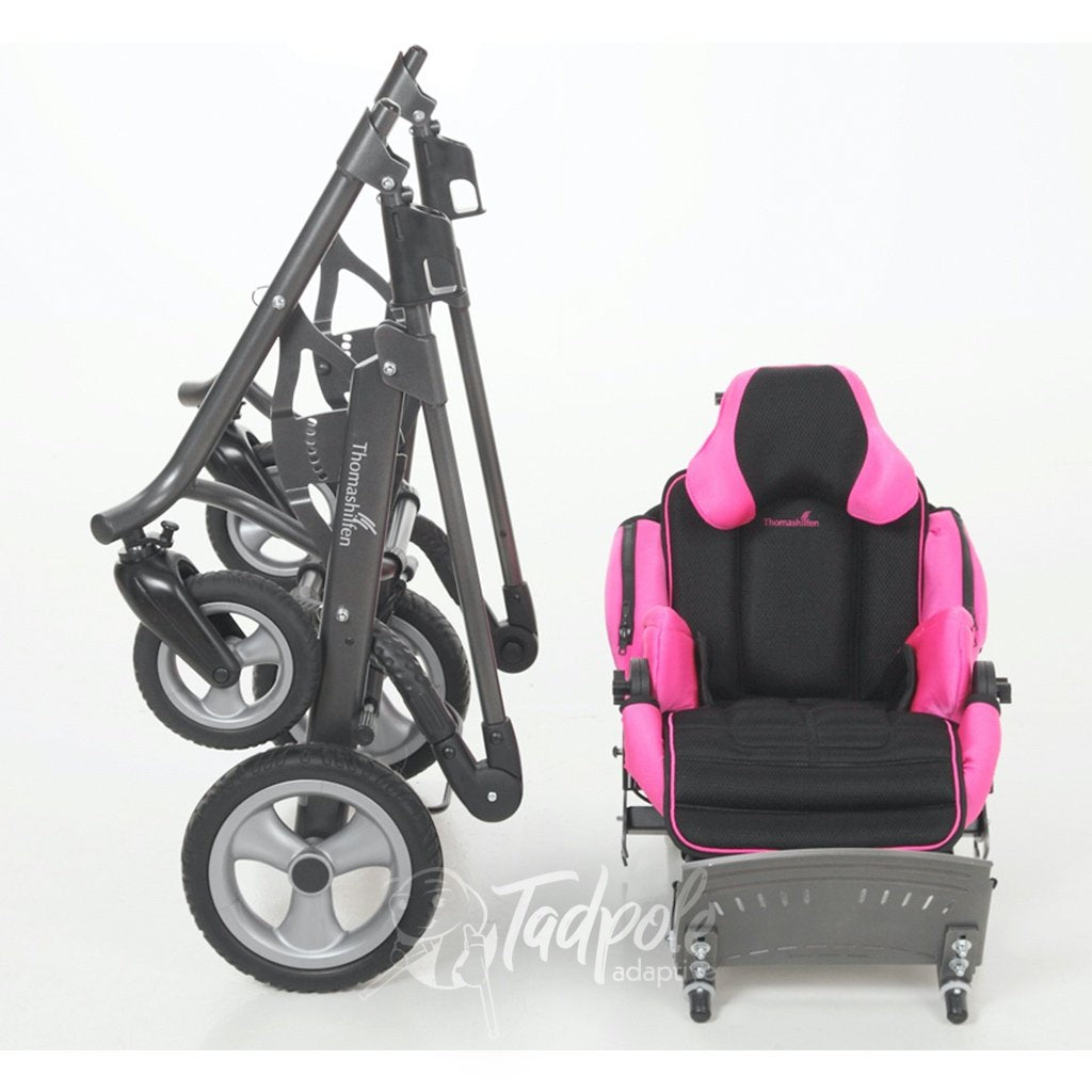Thomashilfen tRide Seating unit and folded stroller frame.