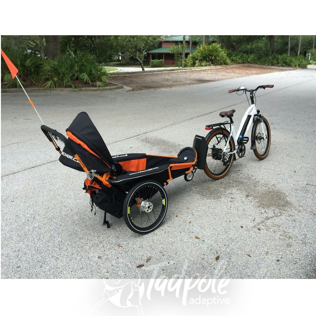 The xRover special needs stroller in bike trailer mode.