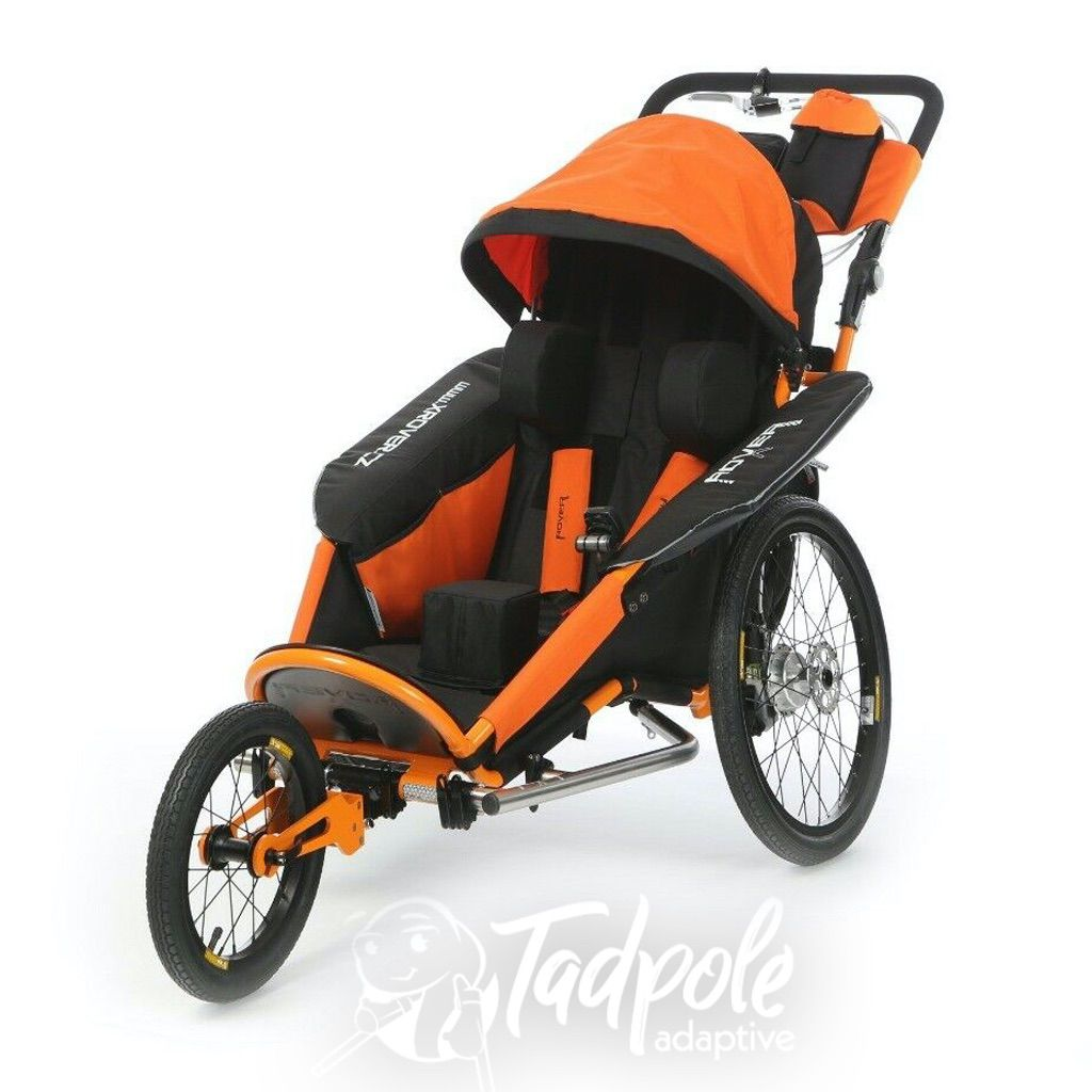 The xRover special needs stroller, jogger and bike trailer in black/orange.