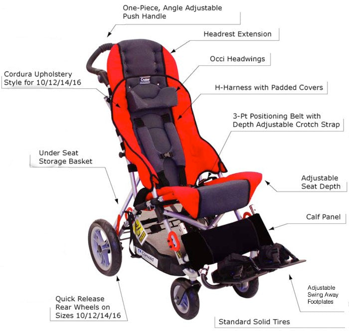 Convaid Cruiser Special Needs Stroller Features on Tadpole Adaptive