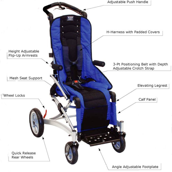Convaid Rodeo Special Needs Stroller Features on Tadpole Adaptive