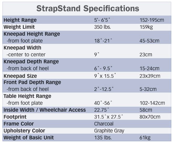 EasyStand StrapStand Specs