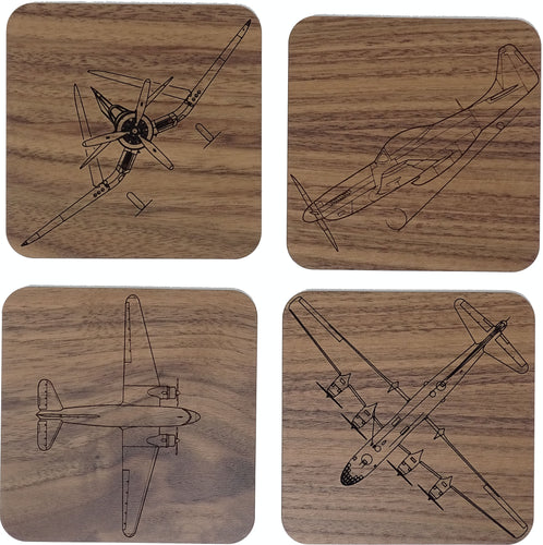 USA Planes of WWII 4 Coaster Set