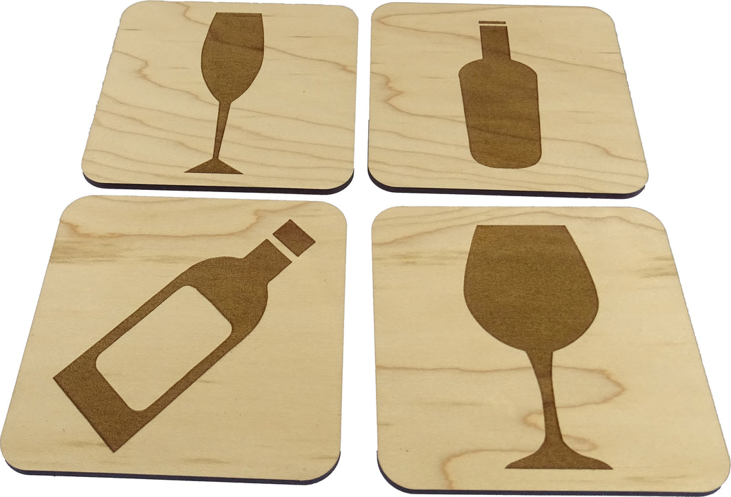 Wine/Champagne Themed 4 Coaster Set
