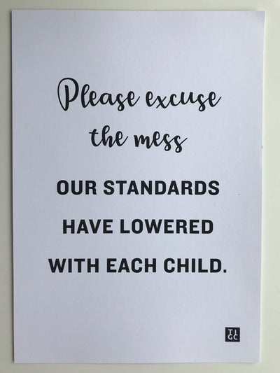 Please excuse the mess our standards have lowered with each child