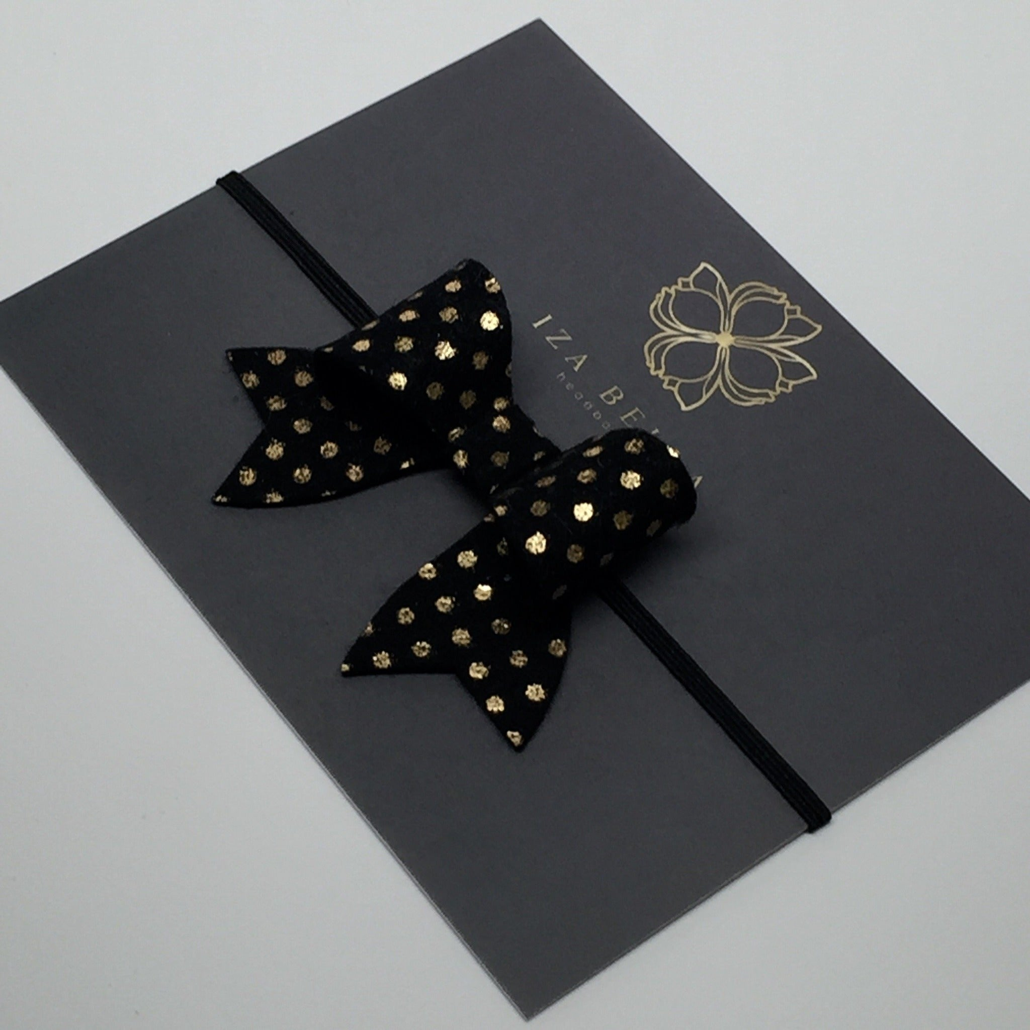 Black and Gold Polka Dot Headband
