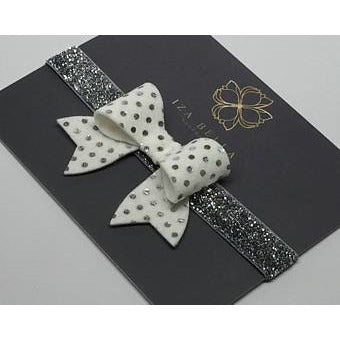 White and Silver Polka Dot Headband