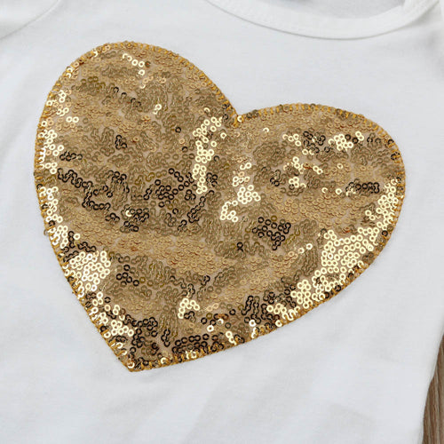Leopard Sequin Heart Set