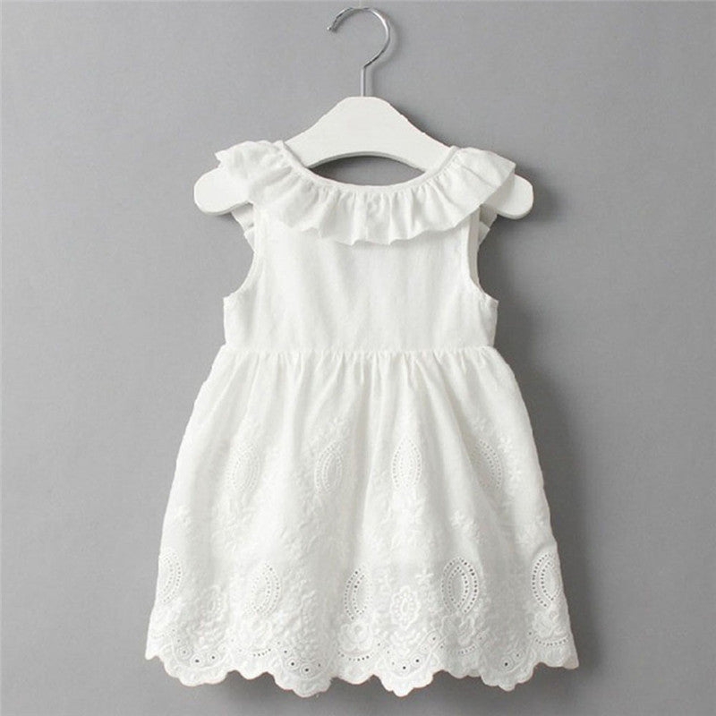 White Ruffle Bow Dress