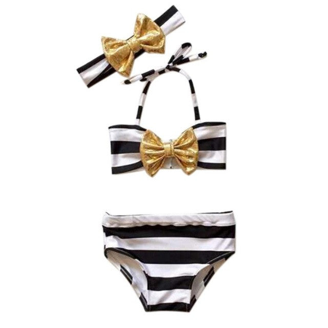 Striped Swimsuit with Headband