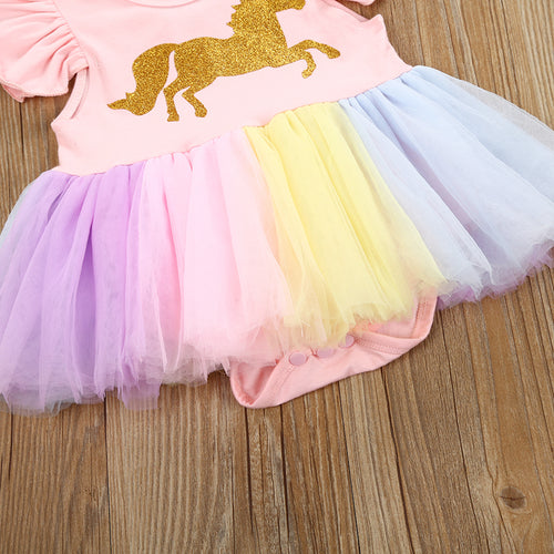 Gold Unicorn Tulle Onesie