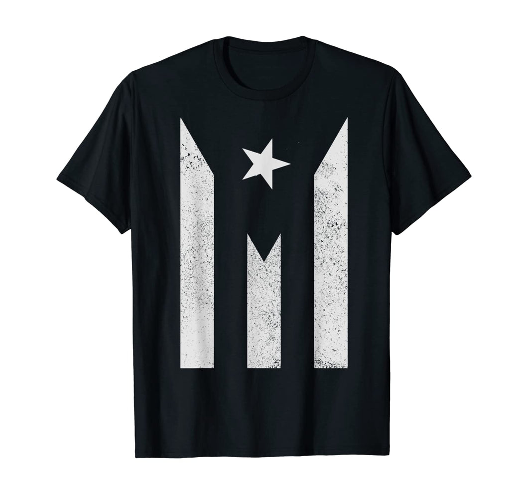 PUERTO RICO Black and White Flag T SHIRT Tee Shirt - aybendito