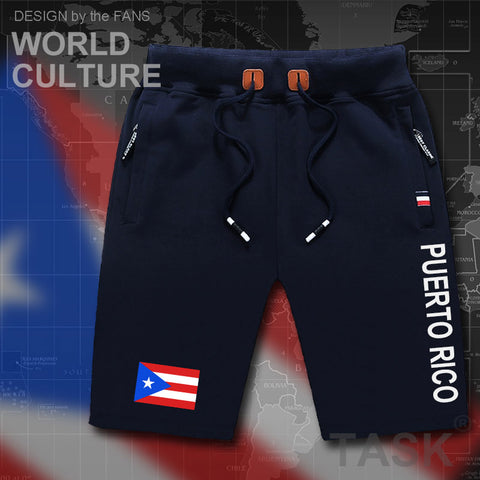 Puerto Rico mens shorts beach man men's board shorts flag workout zipper pocket sweat bodybuilding 2017 cotton NEW Rican PRI PR
