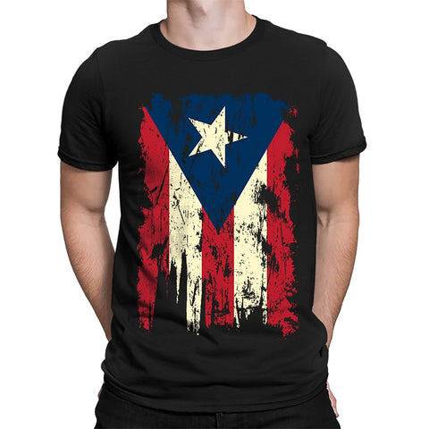 Vintage Distressed Puerto Rico Flag Men's T-Shirt, SpiritForged Apparel New T-Shirt Men Fashion T Shirts Top Tee Plus Size