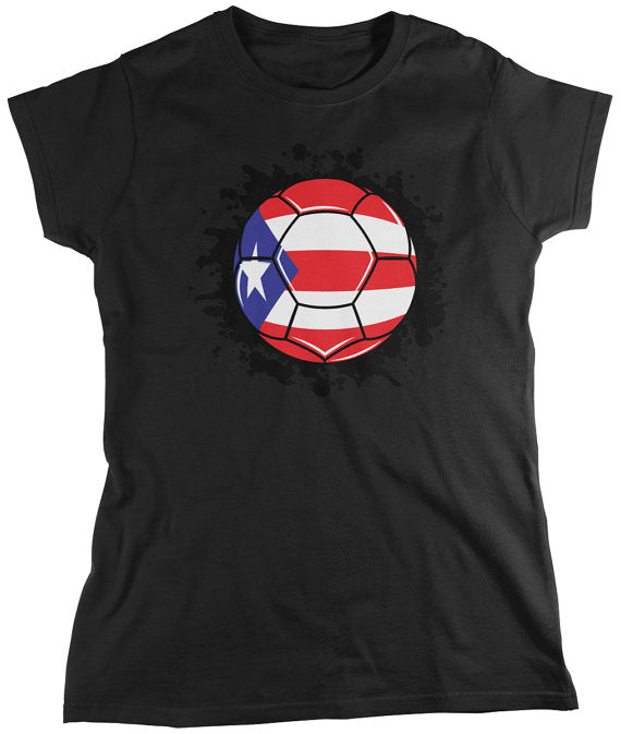 Puerto Rican  Flag Soccer Ball Ladie's T-Shirt
