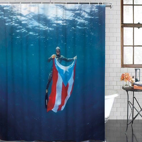 Puerto Rico Flag Ocean Swimming Diver New Waterproof Shower Curtain with Hook for Home Decoration Bathroom Supplies - aybendito
