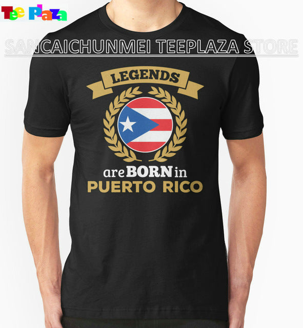 Fashion Men'S O-Neck Design Short Sleeve Legends Are Born In Puerto Rico T Shirts
