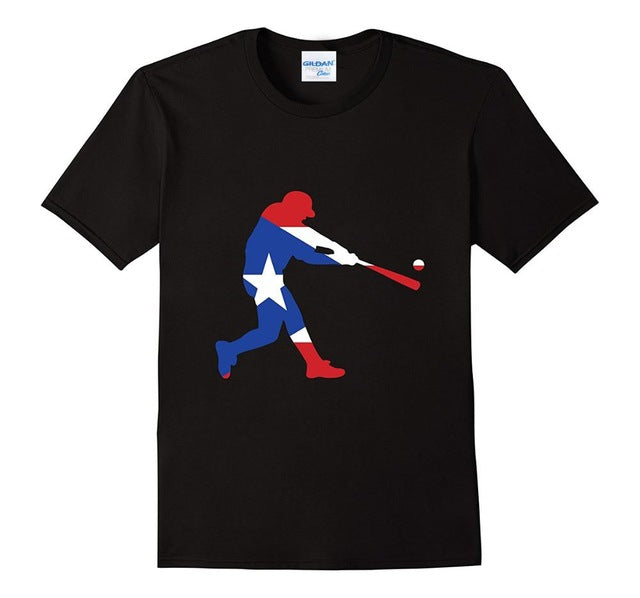 Fashion Men's Cotton T-Shirt Men's Puerto Rico Baseball T-Shirt Classic T-Shirt Design Your Own Tee Shirt - aybendito