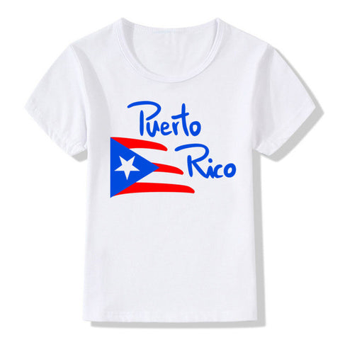 Boy and Girl Print  Puerto Rico Flag logo Fashion T-shirt Children Anime Summer Short sleeve T shirts Kids Tops Tee Baby Clothes