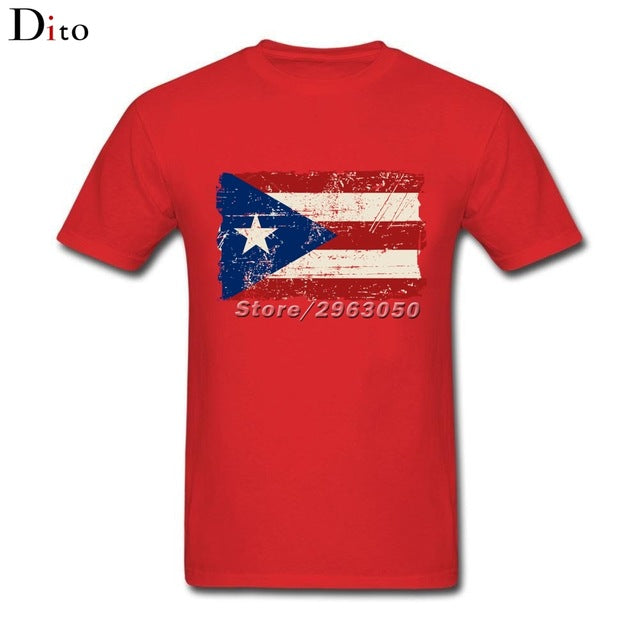 Vintage Puerto Rico Flag Shirt For Men 2017 Custom Short Sleeve Plus Size Group  Camiseta