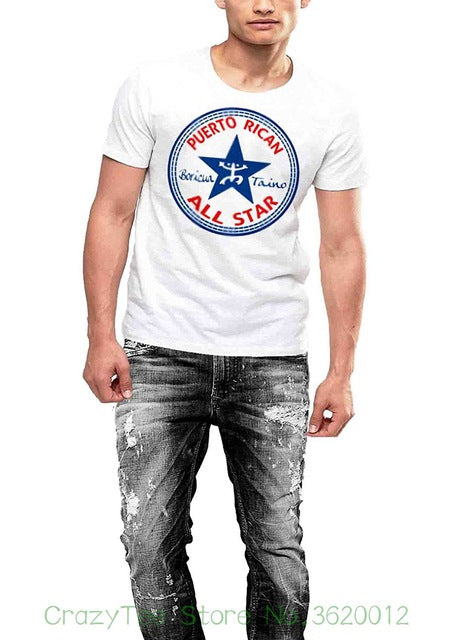 Men Tee Shirt Tops Short Sleeve Cotton Fitness T-shirts Puerto Rico Flag Boricua T-shirt Taino