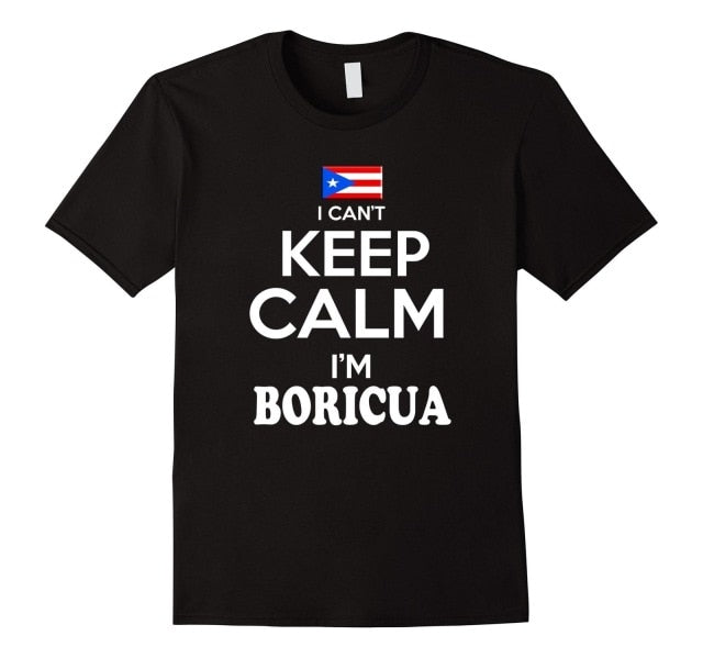 Men's Puerto Rico Keep Calm Boricua tshirt Puerto Rican Camiseta Black Fashion Men T Shirts