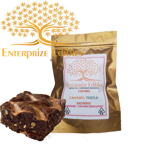 ***2x $75 SALE***1000mg Caramel Turtle Brownie by Enterprize Edibles Brownie, Enterprize Edibles - Cloud Legends 420