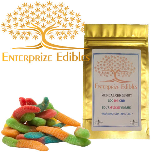 3x $40 -- 200mg CBD Gummy Worms by Enterprize Edibles - Cloud Legends 420