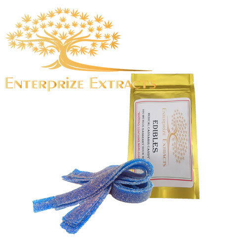 3x/ $40 -  320mg Blue Raspberry Sour Belts by Enterprize Edibles - Cloud Legends 420