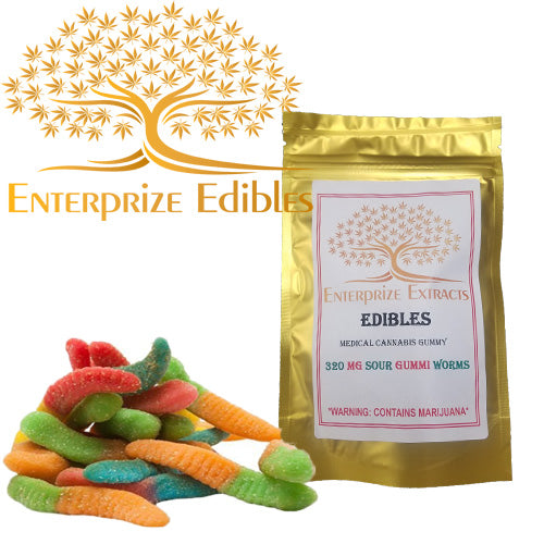 3x $40 -- 320mg Sour Gummy Worms by Enterprize Edibles - Cloud Legends 420